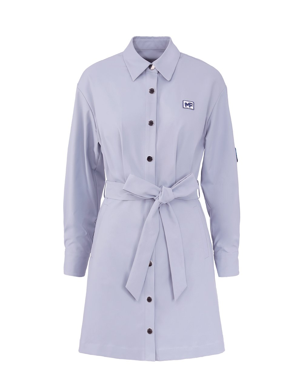MARK FAST Women Lapel Button Up Long Sleeve Self Belt Mini Shirt Dress