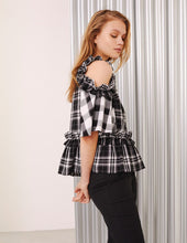 Load image into Gallery viewer, MARK FAST Women Ruffle Cold-Shoulder Plaid Pattern Short Sleeve Blouse