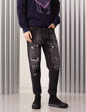 Load image into Gallery viewer, MARK FAST Men Black Washed Denim Vintage Ripped Hole Jeans