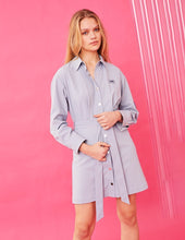 Load image into Gallery viewer, MARK FAST Women Lapel Button Up Long Sleeve Self Belt Mini Shirt Dress