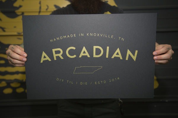Hand Printed Poster (Metallic Gold Ink) - Arcadian Grooming: Pomade, Beard Care, Men's Grooming Supplies