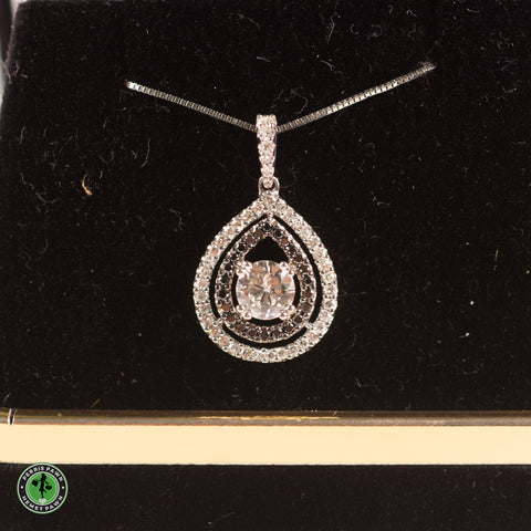 "14KW .60CT (5.5mm) Round Moissanite with (35) .24TW H/I1 Single Cut Diamonds and (24) .12TW Black Cut Diamonds / 18"" .65MM Box Chain"