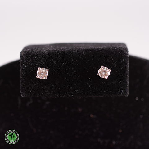 14KW Earrings 4.0mm Round Moissanite Solitaire Earrings / Threaded Back