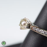 14K White Gold Diamond Ring - .95CT Round Brilliant Cut Diamond