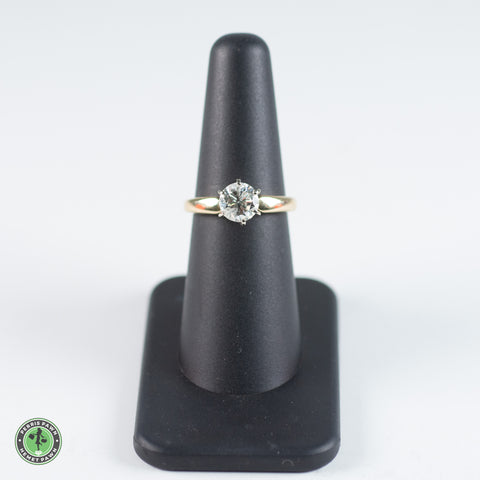 14K Yellow - White Gold Diamond Solitaire Ring - 1.4 Ct Round Brilliant Cut