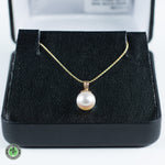 14K Yellow Gold 8.0mm White Rose Akoya Pearl Pendant