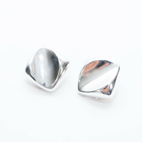 Sterling Silver Barra-Mexico vintage square Modernistic Clip On Earrings