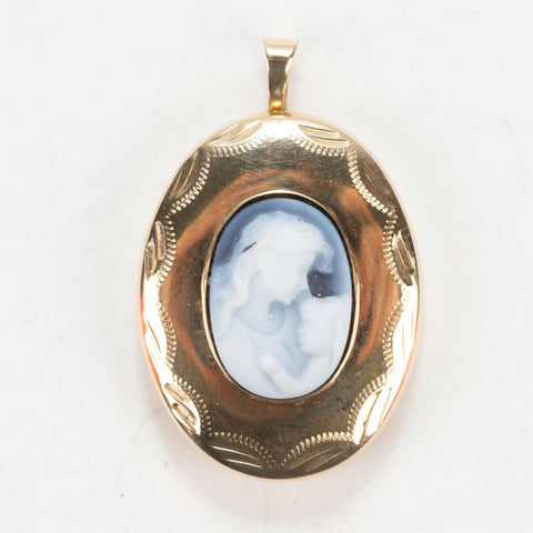10 K Yellow Gold Cameo Locket Pendant - Carrying Mother Holding Child