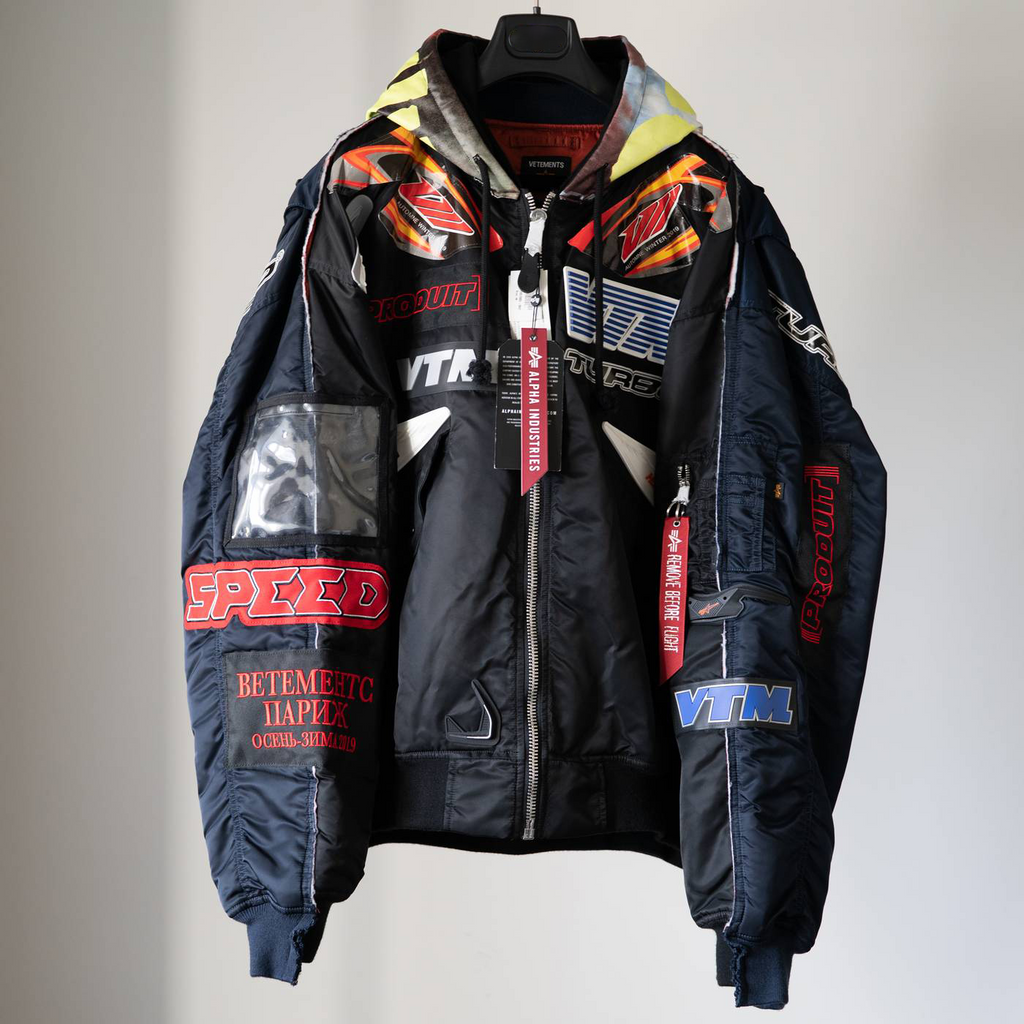 VETEMENTS Alpha Industries Edition 2018FW/ Racing Bomber Jacket / Black & Navy