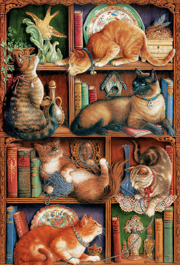 Table Top Cafe Puzzle: 2000 Feline Bookcase