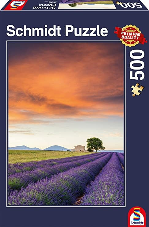Table Top Cafe Puzzle: 500 Field of Lavender, Provence