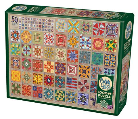 Table Top Cafe Puzzle: 1000 50 States Quilt Blocks