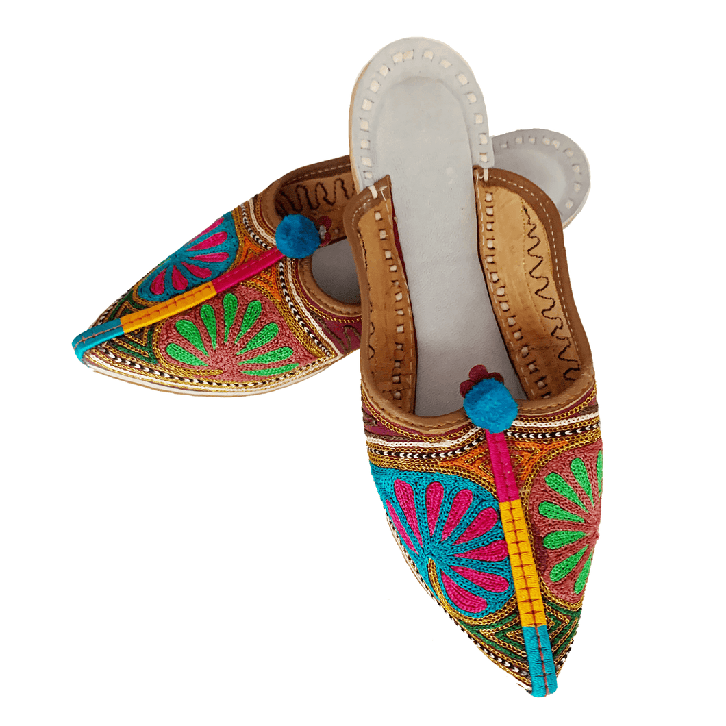 Old Fashioned Online Indian Jutti bohemian slippers with blue, green pink and gold floral embroidery, blue pompoms and cushioned footbed