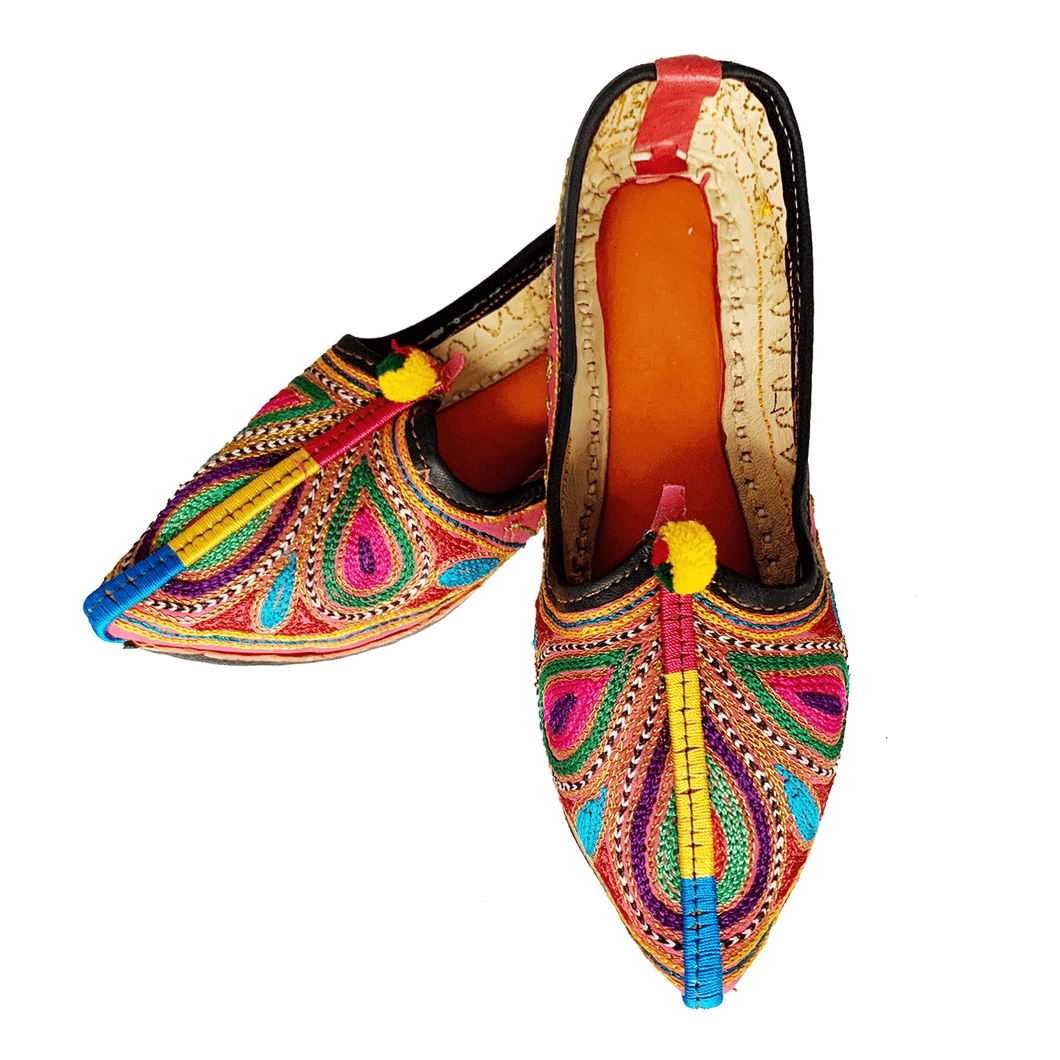 Colorful Old Fashioned Online comfy bohemian Leather slip on Flats with bronze, green and pink Feather embroidery, pompoms and orange cushioned footbed