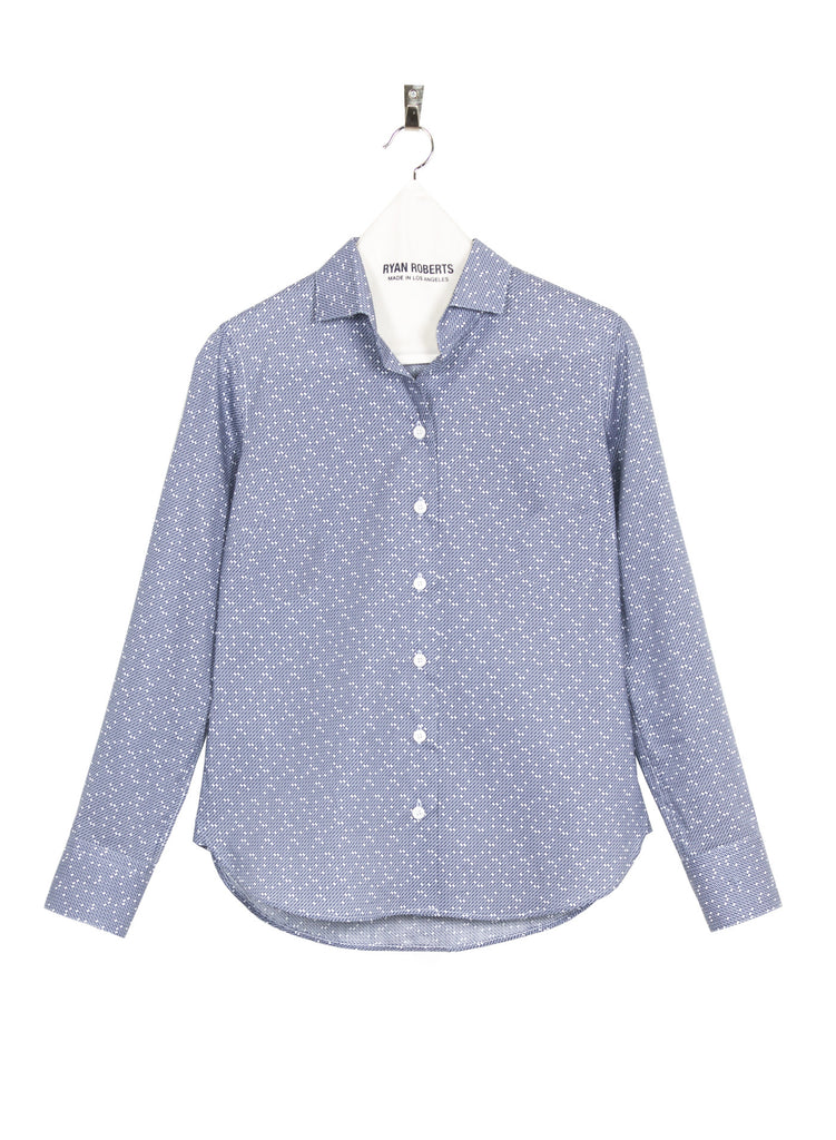 Adrian Shirt Blue Dot Front