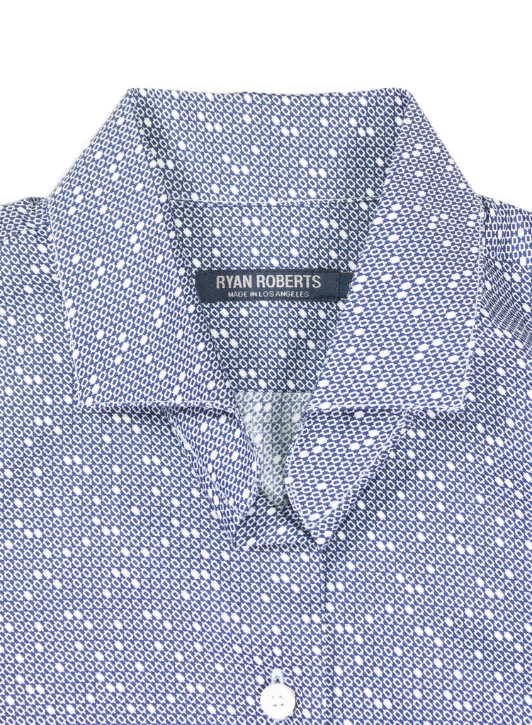 Adrian Blue Dot Collar Detail
