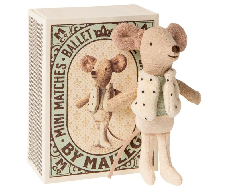 maileg dancer in matchbox, little brother mouse 16-0725-01