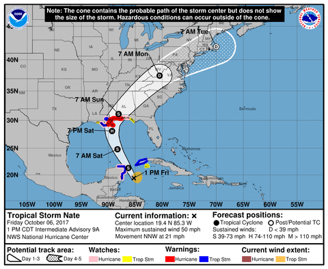 Tropical Storm Nate Moves Toward the Gulf Coast; Emergencies Declared in Four States