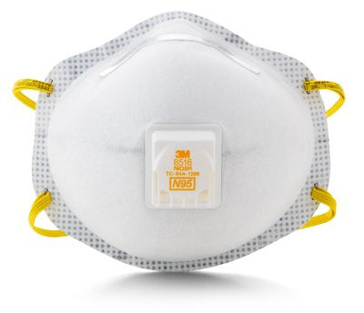 3M N95 Particulate Respirator 8516, with Nuisance Level Acid Gas Relief, Case/80