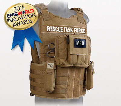 Rescue Task Force Tactical Vest Kit with Level III Soft Body Armor, Side Armor, Coyote Tan