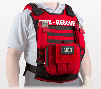 Rescue Task Force Tactical Vest Kit with Level lll Soft Body Armor, Red