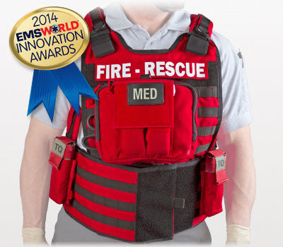 Rescue Task Force Tactical Vest Kit with Level III Soft Body Armor, Side Armor, Red