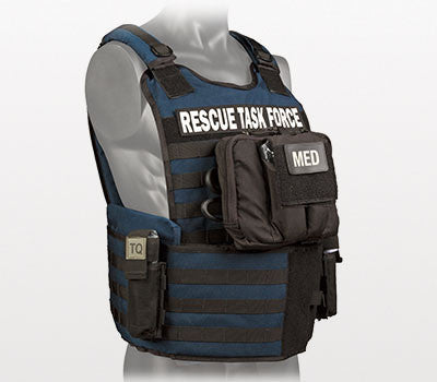 Rescue Task Force Tactical Vest Kit with Level lll Soft Body Armor, Side Armor, Blue