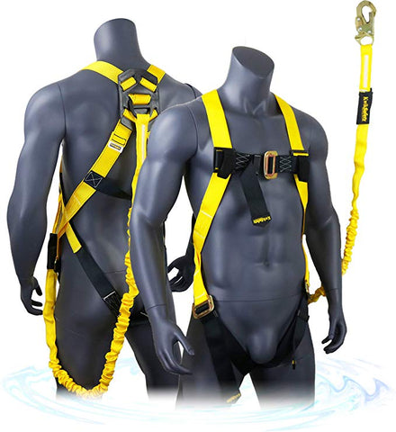 Scorpion Fall Protection Safety Harness with Attached 6' Shock-Absorbing Lanyard, OSHA ANSI