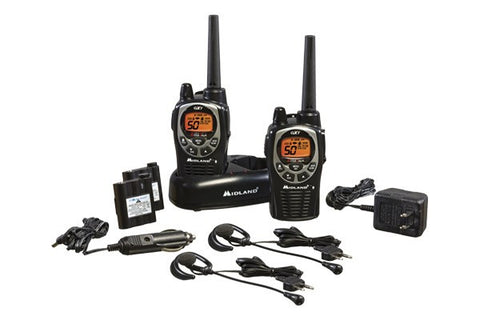 Midland® Up to 36 Mile, Waterproof, Weather/GMRS, Two-Way Radios With Batteries, Charger, and Headsets