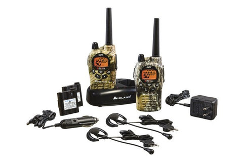Midland Up to 36 Mile, Camouflage, Waterproof, Weather/GMRS, Two-Way Radios With Batteries, Charger, and Headsets