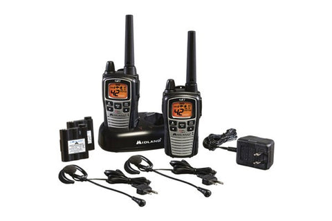 Midland Up to 36 Mile, Weather/GMRS, Two-Way Radios With Batteries, Charger, and Headsets