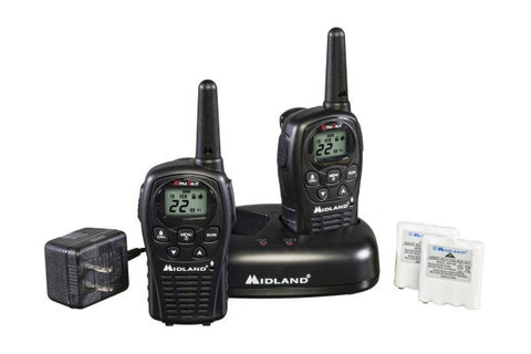 Midland Up to 24 Mile, GMRS Two-Way Radios With Batteries, Charger, and AC Adapter