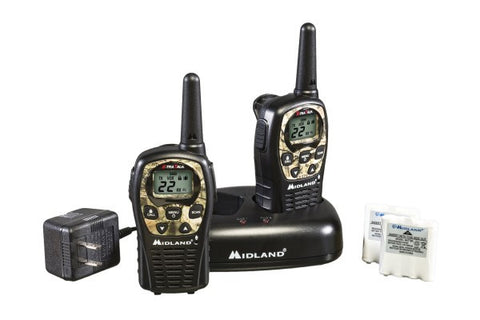 Midland Up to 24 Mile, Camouflage, Two-Way, Weather/GMRS Radios With Batteries, Charger, and AC Adapter