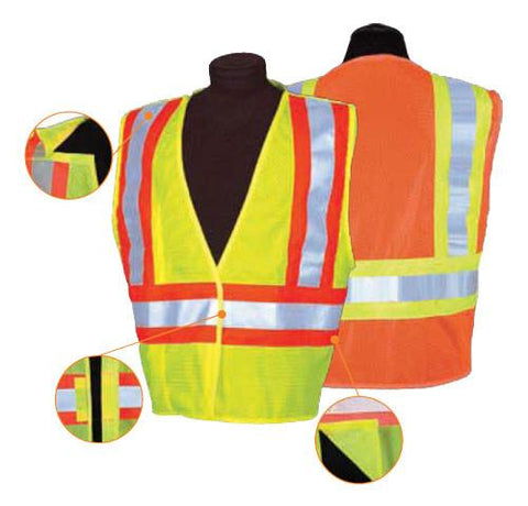 Contrasting Mesh Breakaway Safety Vest, ANSI/Class 2