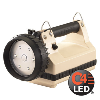 Streamlight E-Flood LiteBox Power Failure System, C4 LED, 615 Lumens, Includes 120V AC/12V DC Chargers & Mounting Rack, Beige