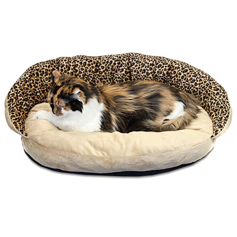 K&H Deluxe Plush Bolster Sleeper, Leopard, Small