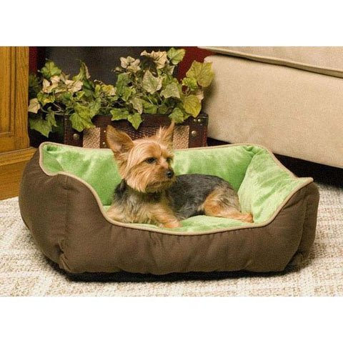 K&H Self-Warming Lounger, Mocha/Green