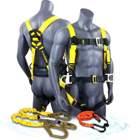 Hurricane Combo Fall Protection Full Body Safety Harness with Back Support, 6' Lanyard, Tool Lanyard, OSHA ANSI