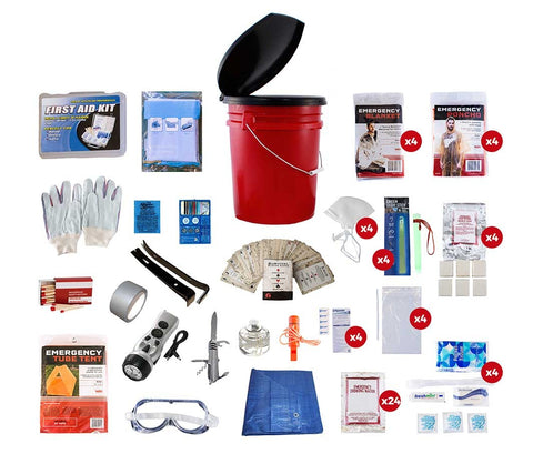 4 Person Deluxe Survival Kit and Bucket