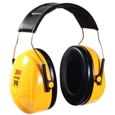 3M Peltor Optime 98 Over-the-Head Earmuffs H9A, 25 dB NRR, Case/10