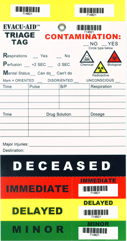 EVACU-AID™ Triage Tags, Pack of 50