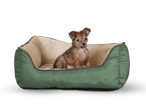 K&H Self-Warming Lounger, Sage/Tan