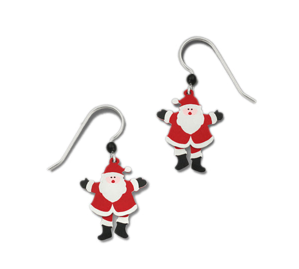 Red & White Ho Ho Ho 2 Part Pivoting Santa Claus Earrings by Sienna Sky