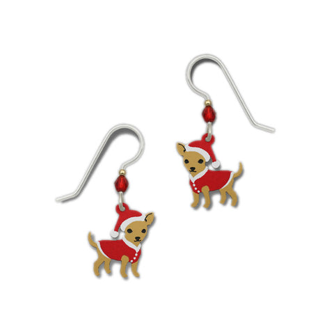 Christmas Theme Chihuahua with Red Sweater and Santa Hat Dangle Earrings By Sienna Sky 1614