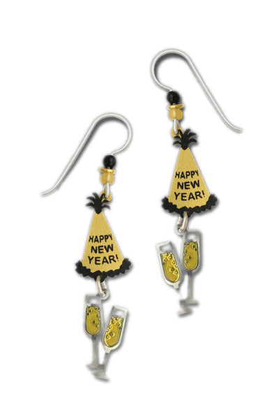 Gold-tone Happy New Year Hat & Champagne Glasses Drop Earrings by Sienna Sky 1499