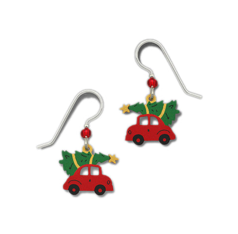 Red Car with Christmas Tree Tied & Star on Roof Earrings by Sienna Sky 1503