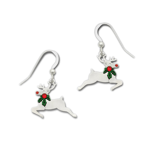 Christmas Reindeer with Red & Green Holly Around Its Neck Dangle Earrings By Sienna Sky 1647