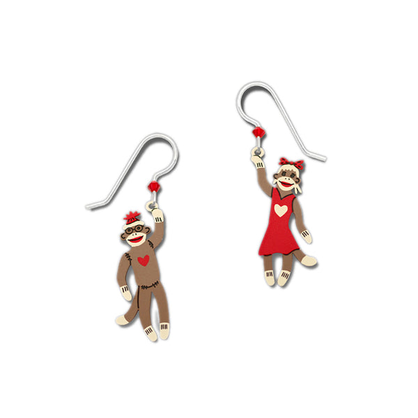 Red & Green Christmas Cheer Boy and Girl Sock Monkeys Earrings By Sienna Sky 1703
