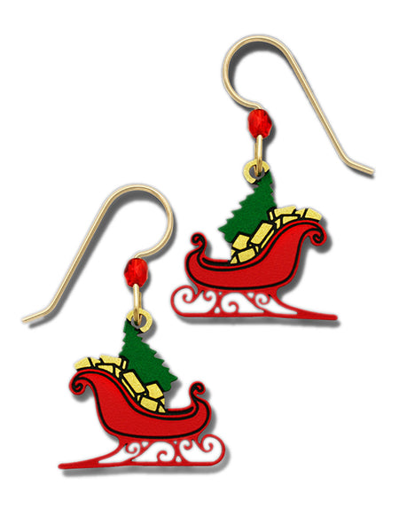 Red Christmas Sleigh Dangle Earrings with Tree and Gifts By Sienna Sky 1780