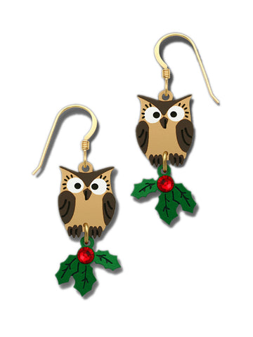 Doe Eyed Brown Owl with Green & Red Christmas Holly Earrings By Sienna Sky 1788